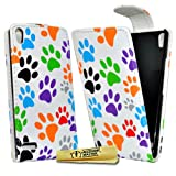 Accessory Master- Leather Flip Cover Case for Huawei Ascend P6 - Multi Coloured Paw Prints