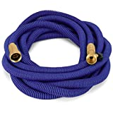 Waterree Tm 50 Feet Expandable Garden Hose - NEW 2017 Super Strong Construction- Strong Webbing -Solid Brass End + 9 Function Spray Nozzle and Shut-off Valve, Blue