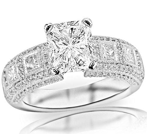 4.09 Carat Radiant Cut / Shape 14K White Gold Exquisite Bezel Set Princess Cut And Pave Set Round Diamond Engagement Ring ( J Color , Vs2 Clarity ) - Size 8.5