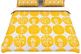 "Kess InHouse Anneline Sophia ""Dotty Papercut Yellow"" Circles Gray Twin Cotton Duvet, 68 by 88-Inch"