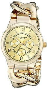 Akribos XXIV Women's AK531YG Ultimate Quartz Multifunction Gold-tone Twist Chain Bracelet Watch