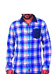 Being hearted men's Checked Casual Shirt CHKDDNM3CLRBLUE_ BLUE_S