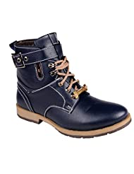 CNS Men's Casual Blue Synthetic Leather Boot