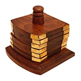 Crafts'man Beautiful Wooden Tea Coaster...Handmade Retro Wood Coaster Set With 6 Square Table Coasters And Decorative...