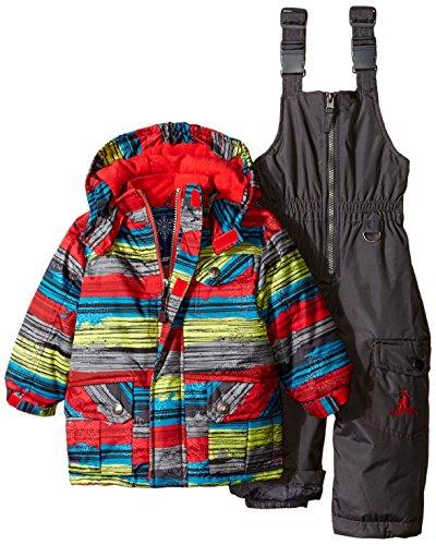 Rugged Bear Baby Boys Stripe Snowsuit, Grey, 24 Months