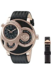 GV2 by Gevril Men's 8303 Macchina Del Tempo Analog Display Swiss Quartz Black Watch