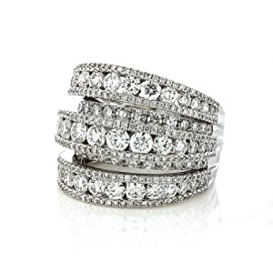 5.04 Cts. 18K White Gold Diamond Ladies Right Hand Ring