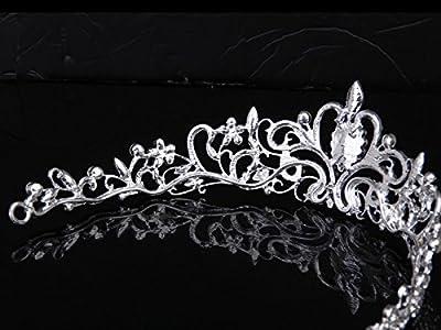 "Wedding Prom Engagement Party Bridal Bridesmaid Flower Rhinestone Crown Tiara 11.42"""