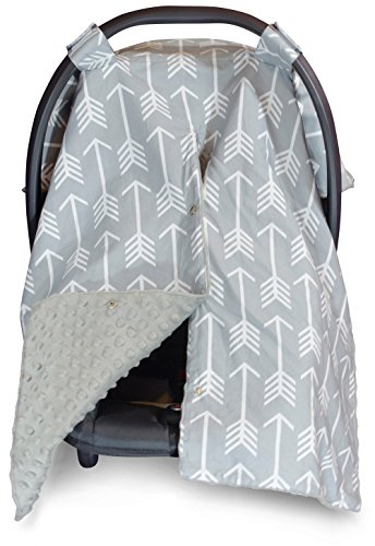 Premium Carseat Canopy Cover and Nursing Cover- Large Arrow Pattern w/ Grey Minky | Best Infant Car Seat Canopy, Boy or Girl | Cool/ Warm Weather Car Seat Cover | Baby Shower Gift 4 Breastfeeding Moms (Green Infant Car Seat Covers compare prices)
