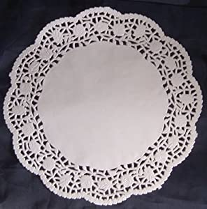 """Paper Doilies - 10.5"""" Round - 16 piece pack - Wedding Party Supplies Tableware - White Floral Design"""