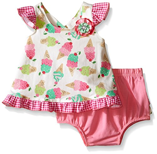 Nannette Little Girls Knit Ice Cream Top and Diaper Cover Set, Pink, 24 Months