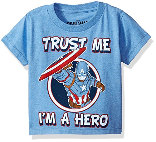 Marvel Boys' Toddler Boys' Trusted T-Shirt, Light Blue Heather, 3T (Captain America T Shirt Toddler compare prices)