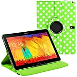 Stuff4 Polka Dot Designed Leather Smart Case with 360 Degree Rotating Swivel Action and Free Screen Protector/Stylus Touch Pen for 10.1 inch Samsung Galaxy Note 2014 Edition P600/P601/P605 - Green/White