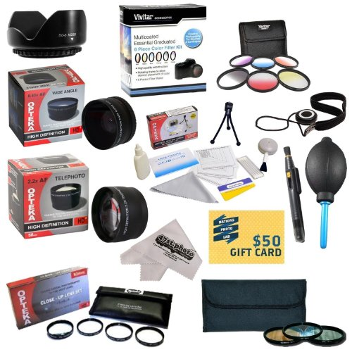 25 Piece Advanced Lens Package For The Nikon D7100 D7000 D5000 D5300 D5200 D5100 D3300 D3200 D3000 D40 D40X D50 D60 D70 D70S D80 D90 D100 D200 D300 D700 (Nikon 18-200Mm & 18-55Mm Lenses) Includes 52Mm 0.43X Hd2 Wide Angle Panoramic Macro Fisheye Lens + 52