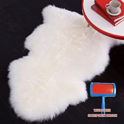 HUAHOO White Real Sheepskin Rug Single Pelt -100cm x 60cm Genuine SheepSkin Rug