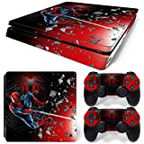 ZOOMHITSKINS PS4 Slim Skin Decal Sticker Superhero Spider Custom Design + 2 Controller Skins Set