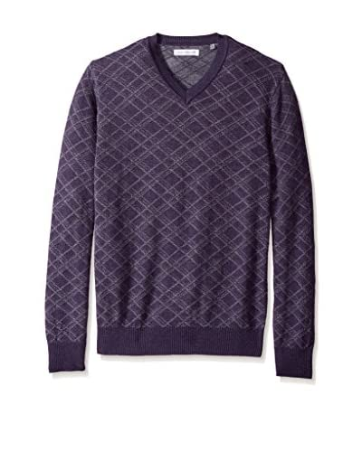 Alex Cannon Men's Textured Horizontal Diamond V-Neck Sweater