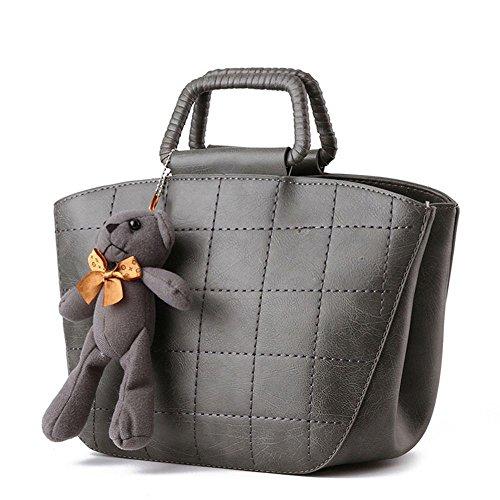 Koson uomo donna, in stile Vintage, con tracolla per piccola borsa a tracolla, maniglia superiore, grigio (Grigio) - KMUKHB278