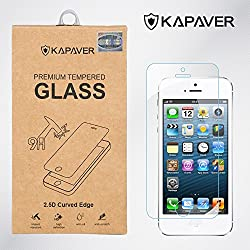 Kapaver for Apple iPhone 5/5S/5C 2.5D Curved Edge 9H Hardness With Camera Cut Premium Tempered Glass Screen Guard Protector