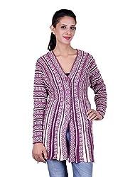 eWools Women's Woolen Shrug (Darshana-315_Purple White_X-Large)