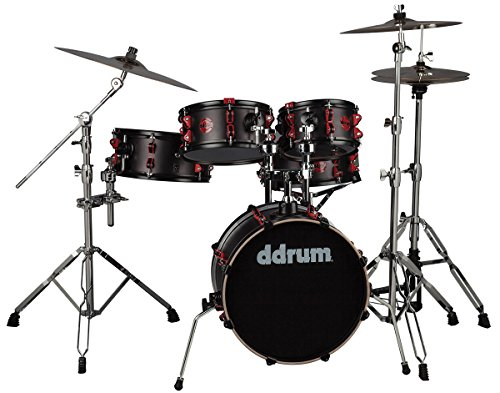 ddrum-hybrid-compact-5-piece-acoustic-kit-with-built-in-triggers-with-hardware-black-red