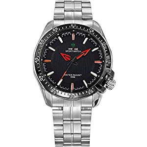 WEIDE Men's Sport Military Stainless Steel Analog Quartz Wrist Watches Waterproof Wristwatch-