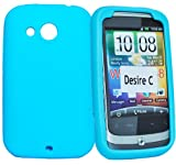 Phonedirectonline- Sky blue silicone gel Skin Case cover pouch for Htc desire C