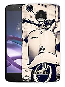 "Retro Scooter MonochromePrinted Designer Mobile Back Cover For ""Motorola Moto Z Force"" (3D, Matte, Premium Quality Snap On Case)"