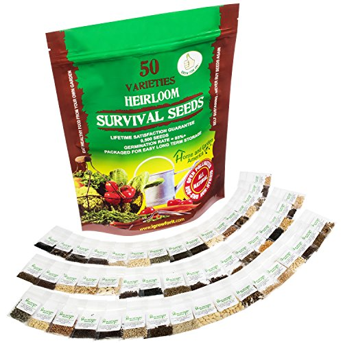 Heirloom Seeds Non-GMO Vegetable Seed Kit - 50 Varieties - Best For Planting Sprouting and Gardening Non Hybrid Food For Emergency Doomsday Survival Preparedness - Beginners Can Easily Grow A Garden (Starter Pack On Whats The Word compare prices)