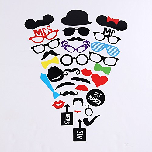 [2 Naissance] Photo Booth Props 31Pieces DIY Kit for Wedding Dress-up Accessories & Photo Shoots & Special Events Party Favors Party supplies Costumes with Mustache on a stick(1 PACK ONLY)
