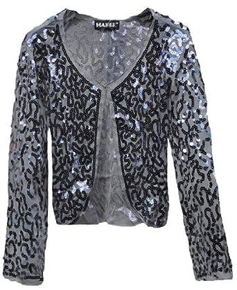 Fashion Victim, Ladies Long Sleeve Sequin Bolero Shrug, Cardigan in Silver, Size 6-8
