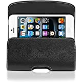 GreatShield BLAST Series Genuine Leather Case Holster for iPhone 5 / 5S / 5C (All Carriers) - Black w/ White Stiching - Dimensions: 130 X 65 X 20mm (5.1X2.5X0.7in)