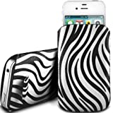 WHITE ZEBRA PREMIUM PU LEATHER PULL FLIP TAB CASE COVER POUCH FOR LG KP500 COOKIE BY N4U ACCESSORIES
