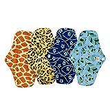 Alva Baby Antibackerial Charcoal Bamboo Reusable Menstrual Pads/Sanitary Pads 4PCS 4WM