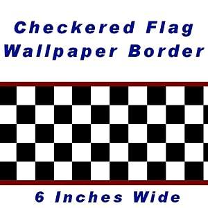 Checkered Flag Cars Nascar Wallpaper Border-6 Inch (Red Edge) by CheckeredWallpaperBorder.com