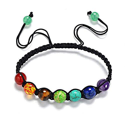 7 Chakra Stone Bracelet Lava Stone Crystal Reiki Healing Balancing Natural Gemstone Round Beads Adjustable