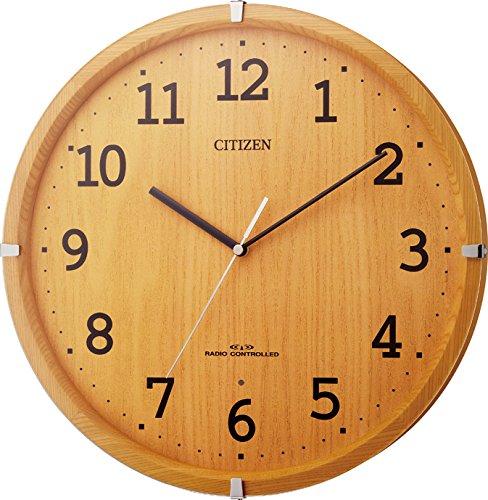 CITIZEN(リズム時計) 《連続秒針モダンタイプ》 シンプルモードアークF 木枠(ラバーウッド材)/薄茶半艶仕上げ 8MYA22-007
