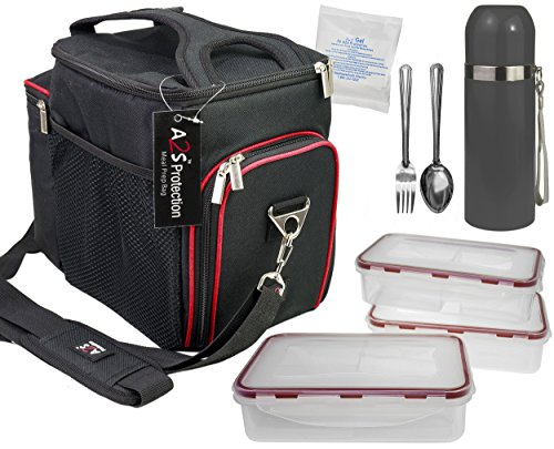 Complete Meal Management 8 Pcs Set by A2S Protection Featuring Cooler Bag 3x Meal Prep Portion Control Containers Leakproof Fork and Spoon Insulated Beverage Bottle Reusable Ice Pack (Black / Red) (Lunch Bags With Hard Liner compare prices)