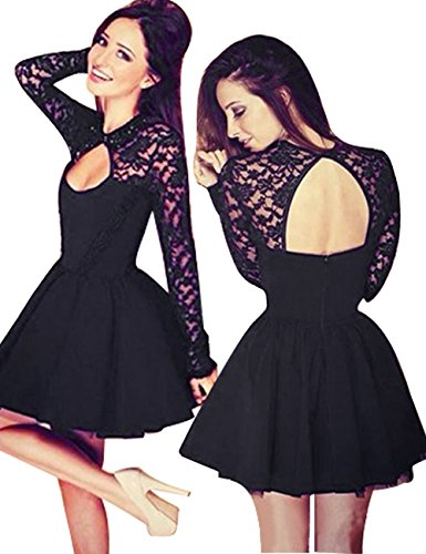 Little Hand Womens Casual Prom Sexy Short Lace Party Bodycon Slim Dress, Black2