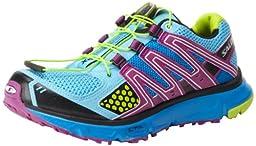 Salomon Women\'s XR Mission Trail Running Shoe,Score Blue/Very Purple/Pop Green,8.5 M US