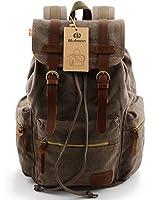 BLUBOON(TM) Vintage Men Casual Canvas Leather Backpack Rucksack Bookbag Satchel Hiking Bag Newest Fashion Style