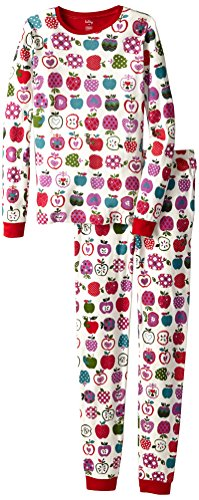 Hatley Little Girls' Pajama Set - Patterned Orchard Apples, Off White, 4 front-1073753