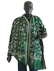 Green Kantha Stitch Silk Stole  Silk