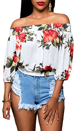 Anmengte Women Sexy Off Shoulder Floral Crop Top Half Sleeves Casual Blouse (S, White)