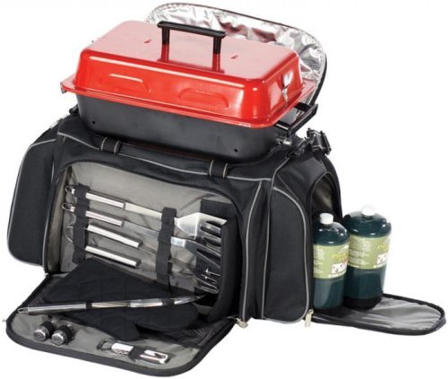 Picnic Plus Portable Gas Grill Tailgating Set, Black