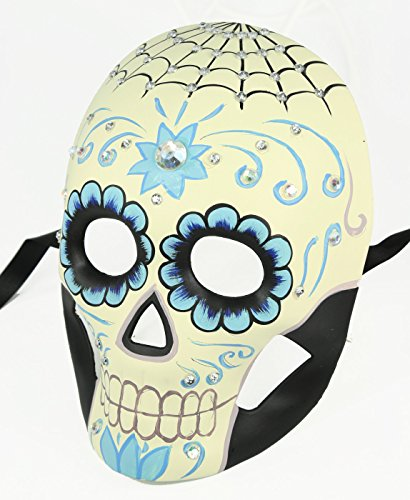 Women's Day of the Dead Dia de los Muertos Mask with Crystals