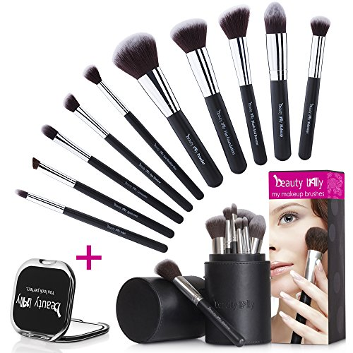 beauty Lally 10 Pcs Makeup Brushes kit-soft, silky professional brushes, Great birthday gifts for her. Comes with elegant black case holder (great for traveling). plus small makeup mirror