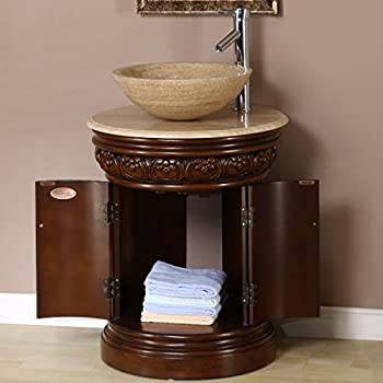 """24"""" Bathroom Furniture Travertine Top Single Sink Vanity Cabinet 160T"""