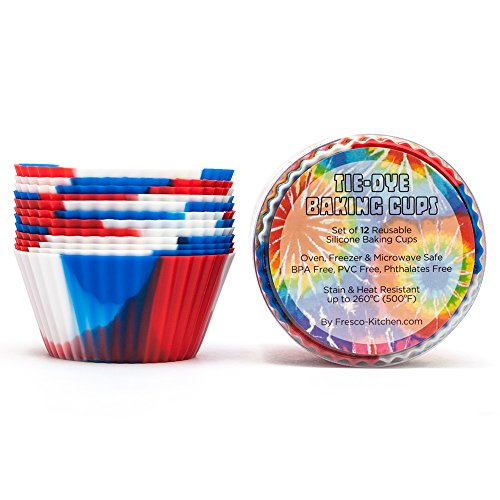Tie-Dye Silicone Baking Cups / Reusable Cupcake Liners-Environmentally Safe-Lifetime Guarantee (12 Pack-Patriot Cups) (Patriot Cupcake Liners compare prices)