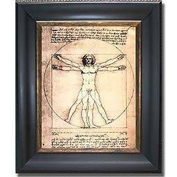 Vitruvian Man by Da Vinci Premium Black & Gold Framed Canvas (Ready-to-Hang)